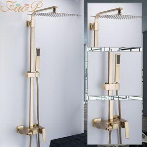 FAOP-Duschsystem Gold Badezimmer Dusche Sets Messing Wasserfall Duschköpfe Wasserhahn für Badezimmermischer Luxus Niederschlag Wasserhaare Y200321
