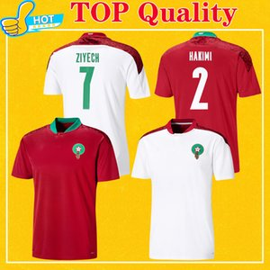 Maillot Maroc 2020 2021 Marruecos Soccer Jersey Home Red Away White Hakimi Ziyech Alioui Top Quality 20 21 Mens Football Shirt