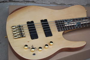 Factory Custom 5-string Neck-Thru-Body Electric Bass Guitar with Rosewood Fingerboard,Abalone Fret Inlay,Gold Hardwares,Offer Customized