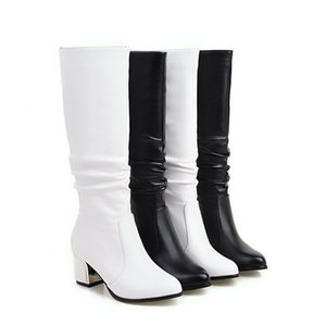 Short boots white women with thick boots long autumn and winter was thin Jane Martin high simple boots 201009