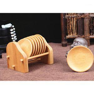 8pcs / set taza de té taza de té de madera sólido titular de taza de té de bambú herramienta fresco protectores de superficie de estilo simple titular de la taza1