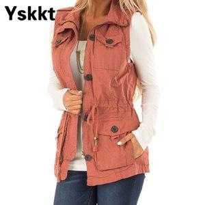 Yskkt Mulheres Casacos Outono Inverno Slim Fit mangas Zipper Colete bolso do colete Coats