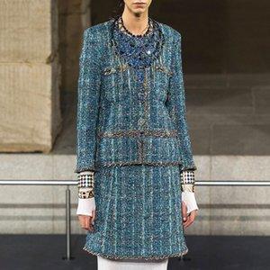 Runway Designer Luxe laine Jupe en tweed Set Femme Automne Hiver élégant unique poitrine vert Veste en tweed Manteau étape Jupe Costume 201008