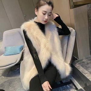 Women 2021 Autumn Winter Faux Fur Vest Coat Female NewThick Warm Outerwear Sleeveless Waistcoat Fake Fur Jacket Overcoat C278