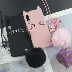 Cute 3D Cartoon Silicon Case for Samsung Galaxy A71 A51 A31 A50 A70 A30s A20 A10 A8 2018 Cases Beard Cat Lovely Ears Phone Cover