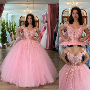 Elegant Pink 3D Floral Flowers Quinceanera Prom dresses 2021 Ball Gown Off Shoulder Sleeves Evening Formal Gowns Sweet 16 Vestidos De Dress