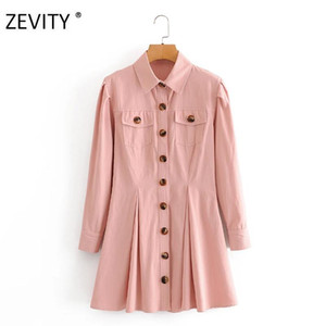 yaka aşağı Zevity kadın safari tarzı dönüş bir çizgi elbise dişi cepler gündelik pileler vestidos şık elbiseler yama göğüslü DS4213