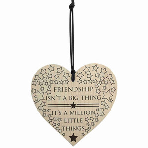Friendship Is A Million Little Things Wooden Hanging Heart Friends Plaque