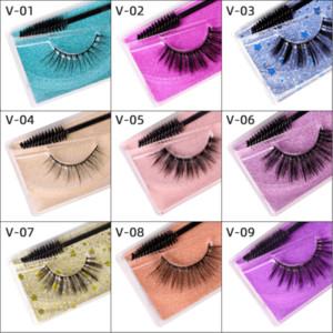 3D false eyelashes, pure handmade color cardboard eyelashes, a pair of assembled eyelashes brush, false eyelashes