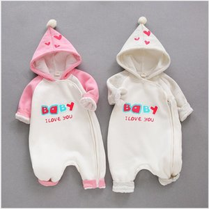 Autumn Winter Infant Clothing Baby Outwear Hoodies Romper Jumpsuit Warm Double Layer Korean Style Newborn Baby Girl's Clothes