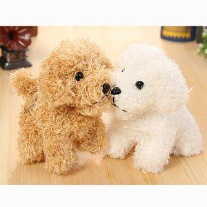 Tamaño pequeño Simulación del perro de caniche de la felpa juguetes animales suffed muñeca llavero anillo colgante de juguetes de peluche