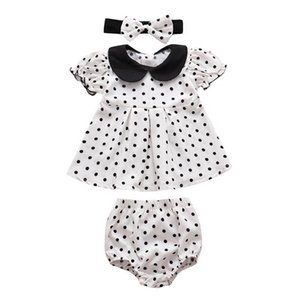 INS 2020 Christmas baby girls suits Infant Outfits dots Blouse+shorts+headbands 3pcs set girls outfits baby girl clothes wholesale B2337