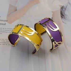 25mm pulsera de plata de color de oro rosa KC francés de voluta reversible de piel Insertar Manchette Mood Bijoux intercambiable brazalete