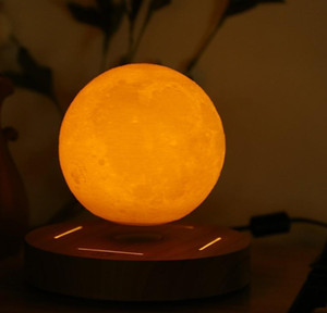 new 360 rotated wooden base levitating 3d moon lamp 10cm night lamp floating romantic light home decoration for bedroom odPu9