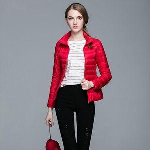 2019 New Thin Down Jacket Women Autumn Winter Slim Short Hooded Warm White Duck Down Coat Womens Outerwear