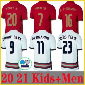 20 21 Ronaldo Soccer Jerseys National Team Joao Felix 2020 2021 Bernardo Portugal B.FERNANDES Camisa de Futebol 남성 키트 축구 셔츠