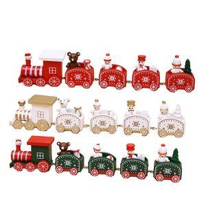 Madeira do Natal urso boneco de trem Mini Train Decor Set Trem do Natal Ornamento Brinquedos Detalhes do navio da gota decoração de casa