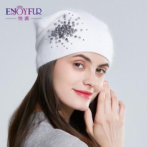 ENJOYFUR chapeaux d'hiver pour les femmes en tricot de laine mode chapeaux chaud dame strass BONNETS calotte 201027