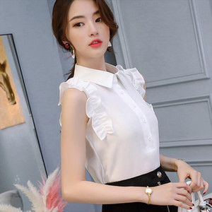 Spring Summer 2020 Women White Shirt Sleeveless Shirts Korean Lapel Ruffle Women Streetwear Slim Chiffon Blouse Office Lady Top