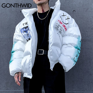 GONTHWID Graffiti Print Puffer Cotton Padded Parkas Streetwear Hip Hop Casual Thick Warm Jackets Coats Hipster Fashion Winter Co 201118