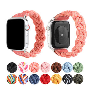 Watch Band for Apple Watch Series 6 5 4 SE Bands 38mm 42mm 40mm 44mm Nylon Elastic Woven Integrated Wrist Strap Elastic Straps Watchband