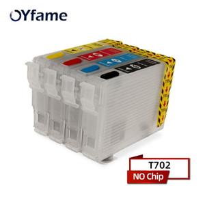 OYFAME T702 T702XL Cartucho de tinta recarregável Sem chip para Workforce Pro WF-3720 WF-3733 WF-3730 Cartucho de impressora
