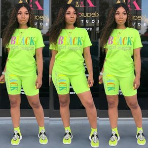 Fashion Womens Two Piece Set Cartoon Letter Print Short Sleeves T shirt Skinny Shorts Suit 2020 Summer Running Fitness Sets