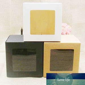 10*10*10cm White black kraft Window Box Packing Gift Boxes with pvc window for Candy Cake Soap Cookie Cupcake Display Box