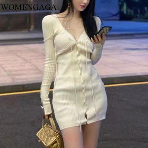 WOMENGAGA Полных рукава V-образный вырез Вязание однобортных Тонкой высокой талия пуловер платье Женская Мода Платье 5P0V