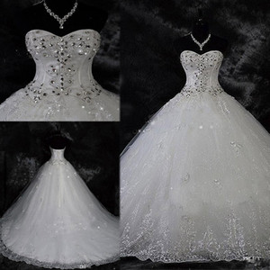 Sparkling Beading Crystal Wedding Dress Lace Rhinestone Plus Size Robe De Mariage Ball Gown Bridal Dresses Vestido De Novia