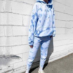 Litthing 2pcs set Multicolor Tie Dye Tracksuits Women Autumn Sleeve Hoodies Sweatshirts Tops Long Joggers Pants Sweatsuits