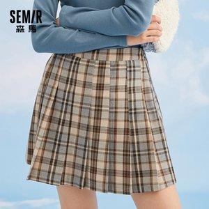 Semir Femmes Jupes Automne Hiver 2020 Automne Nouveaux Jupes Mince A-Line Plaid Instal Campus Style Jupe plissée Femme Y1214