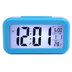 Smart Sensor Nightlight Цифровой будильник с температуры термометр календарь, Бесшумный стол настольные часы Тумбочка Просыпайтесь Snooze AHF2614