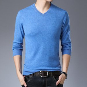 Thin Man Pull T-shirts Laine Casual Male V-Neck 14 Couleurs de couleur unie Jumper Slim Pulls manches longues