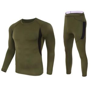 Homens térmica conjuntos de roupa interior de compressão fleece suar rápida secagem térmica cueca Rússia ginásio fitness Hunk Exército Guerreiro verde militar Magro