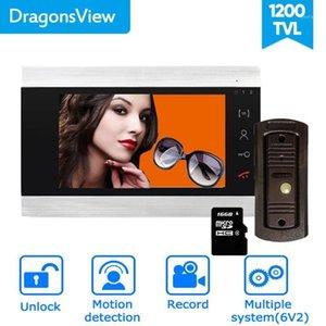 Dragonsview 7 Inch Video Door Phone System Home Intercom Unlock Record HD Doorbell With Camera Motion Detection Unlock 16GB1