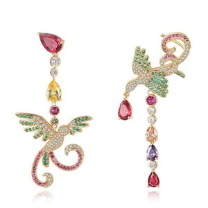 Fashion Asymmetrical Earrings Colorful Zirconia Vintage Phoenix Designed Earrings for Women Girls Hot Selling Zirconia Wedding Jewelry