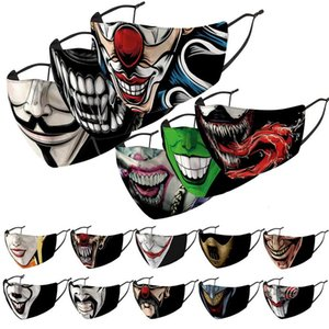 clown face mask  fashion face masks printed facemask dustproof windproof and haze replaceable PM2.5 filter wash mask