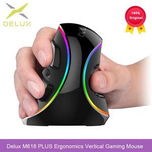 Delux M618 Plus Ergonomics Вертикальная игровая мышь 6 кнопок 4000 DPI RGB проводной / беспроводной правой мышей для портативного компьютера ПК