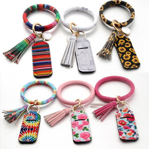 2020 Wristlet Keychain Bracelet Bangle with Neoprene Chapstick Holder Keyrings 16 Styles for Choose Christmas Gifts
