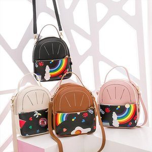 Fashion Women Shoulders Rainbow Backpack Letter Purse Mobile Phone Bag School Bags For Teenage Girls Fashion 2020