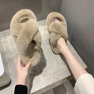 Fourrure Pantoufles femmes lapin cheveux Big Poilu Femmes Mode Cross Casual Chaussures ouvertes Flip Flop Chaussures Automne et Hiver Nouveau