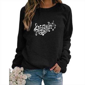 Music Note Hearts Letter Print Hoodies Women Spring Winter Sweatshirts For Female Femmes Autumn Artist Sweet Lover Gift
