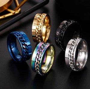 EDC Finger Fidget Spinner Stainless Steel Chain Rotatable Ring Men Classical Rome Digital Power Sense Gift JWR822