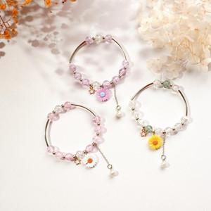 Girlfriend Charm Bead Daisy Bracelet 2021 New Colorful Armband Chain Cute Bracelet Women Party Wedding Friendship Gift Jewelry