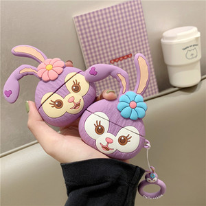 Rabbit and Monkey 3D Cute Cartoon Silicone Protective Case Cover with Handle Ring Rope for Airpods 1 2 3 4