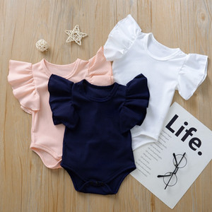 kids clothes girls boys Solid romper newborn infant ruffle Flying sleeve Jumpsuits 2021 Summer baby Climbing clothes A214