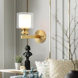 Nordic All Code Wall Fample для спальни прикровата стекла латунь латунный лампа роскошные светодиодные стены Sconce легкий проход коридор освещение1