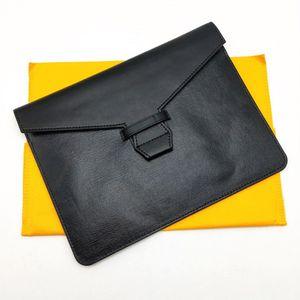 Moda Hombres Mujeres Embrague Bolsa Classic Documento Bolsos Bolsa Memo Cubierta Caoted lienzo con recibo de cuero genuino Bolso de la bolsa de la cubierta del embrague