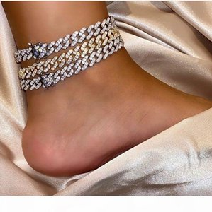 Designer Jewelry Iced Out Chains Men Women Anklets Hip Hop Bling Diamond Ankle Bracelets Gold Silver Cuban Link Fashion Accessories Charms